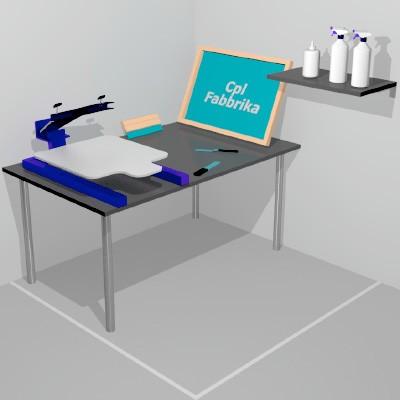 Laboratoire complet pour commencer à imprimer en sérigraphie sur tee-shirt
