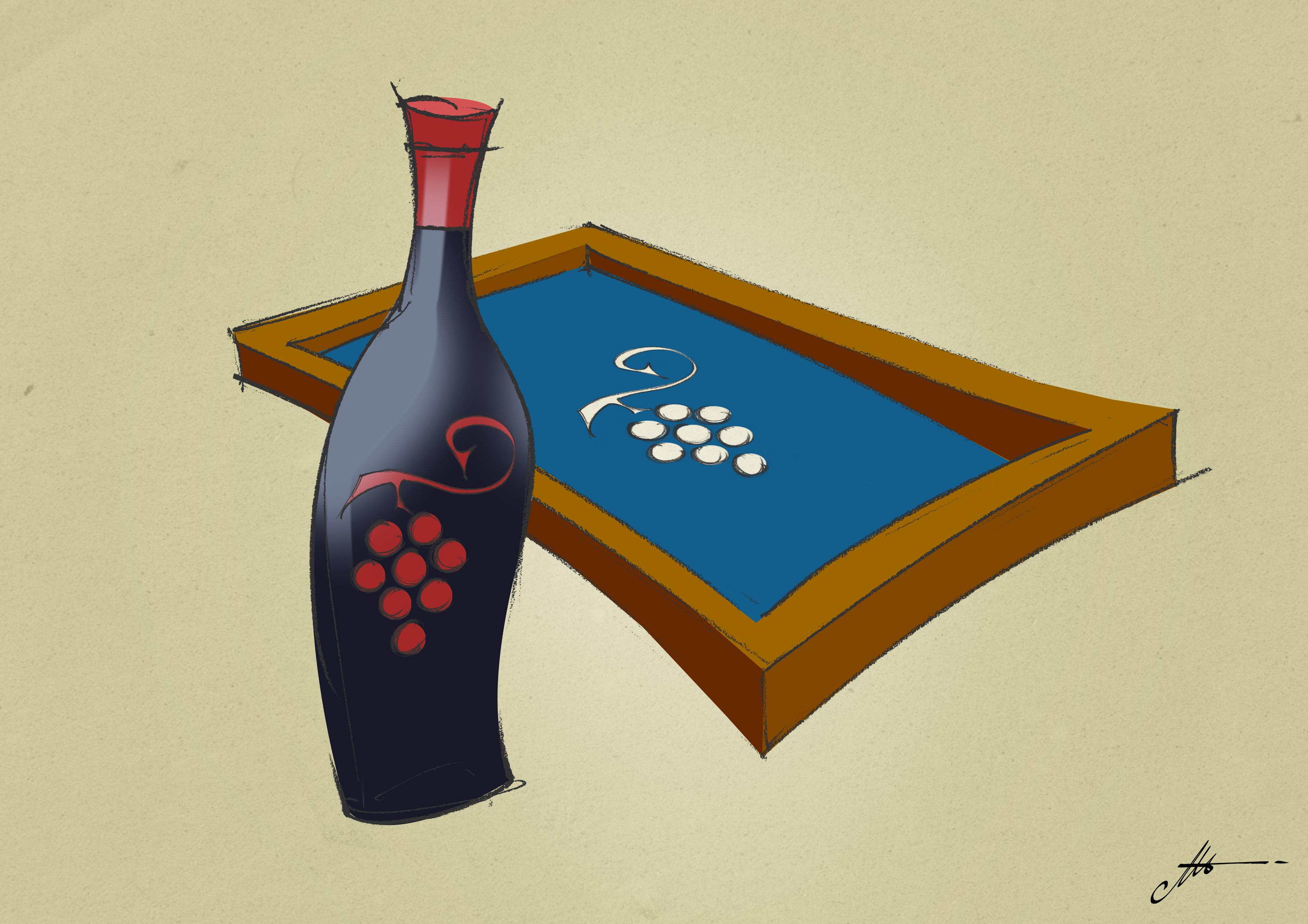 27 sérigraphier sur des bouteilles de vin pleines