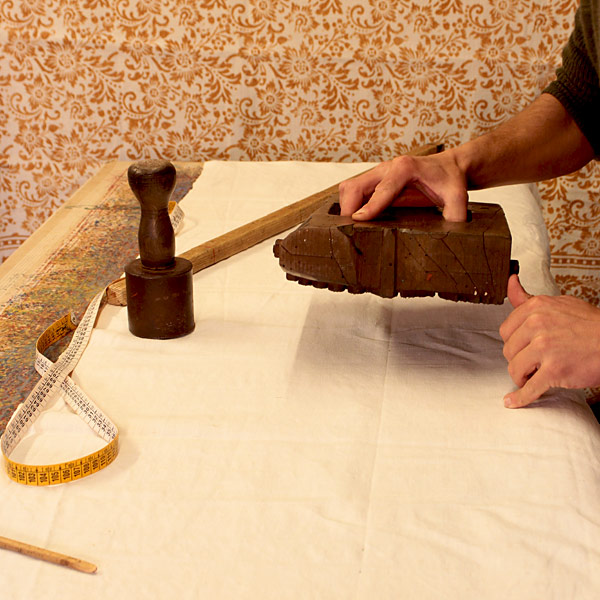 impression avec matrices en bois