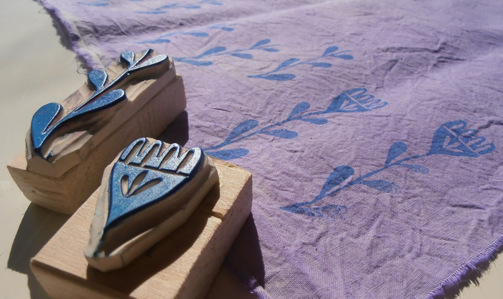 impression sur textiles avec tampons
