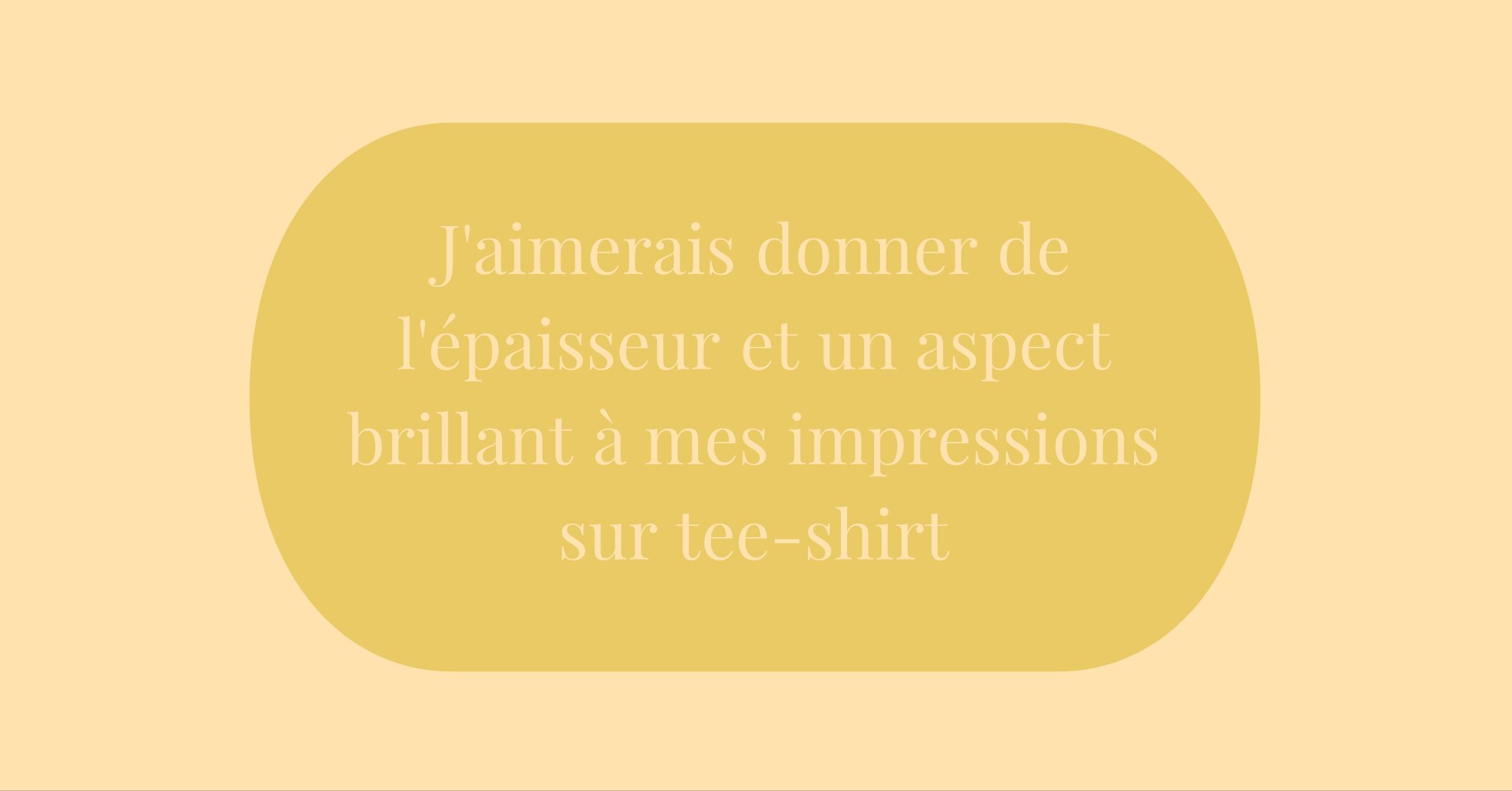 aspect brillant impressions sur tee-shirt